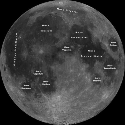 Luna și câteva dintre denumirile de acolo