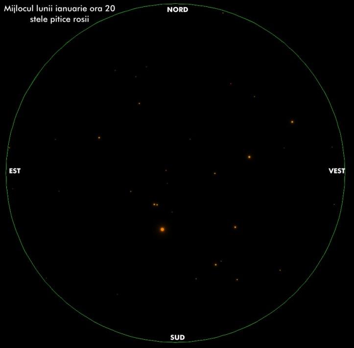 Cerul de la mijlocul lunii ianuarie, valabil toata iarna intre orele 20-24. Stelele pitice roșii