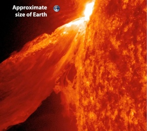 Pământul și erupția. Foto: ASA/GSFC/SDO