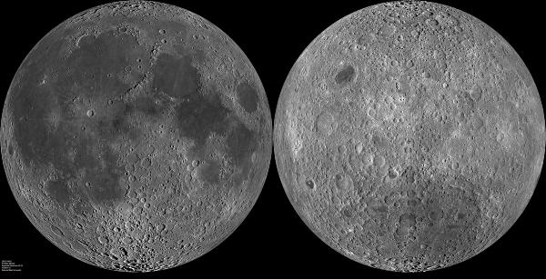 Cele două emisfere ale Lunii. Foto: LRO