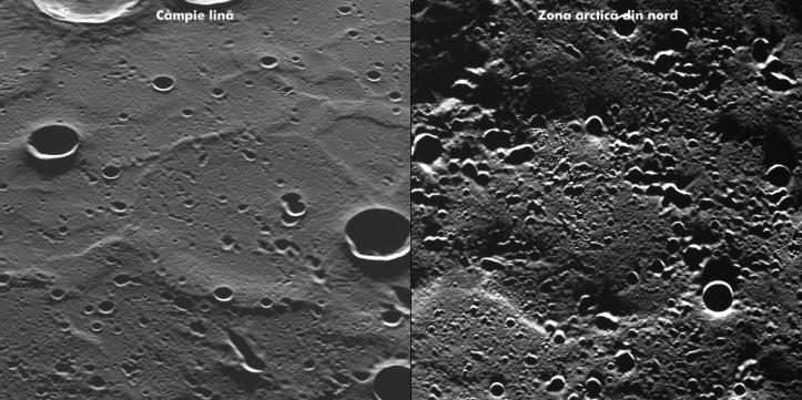 Diferite zone de pe planetă. Imaginea din stânga arată o regiune fotografiată în premieră. Foto: NASA/Johns Hopkins University Applied Physics Laboratory/Carnegie Institution of Washington