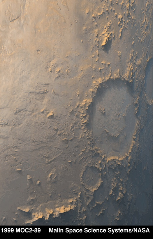 Craterul Galle. Un emoticon pe Marte. Foto: MSSS