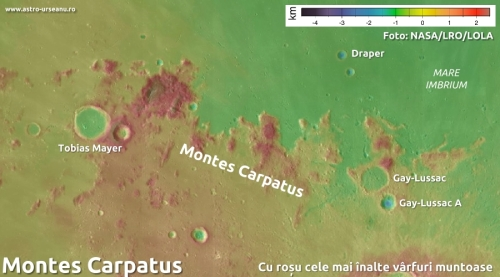 Înălțimile din zona Montes Carpatus. Foto: NASA/LRO/LOLA