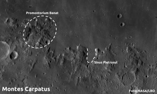Munții Carpați de pe Lună și nume românești dispărute. Foto: NASA/LRO