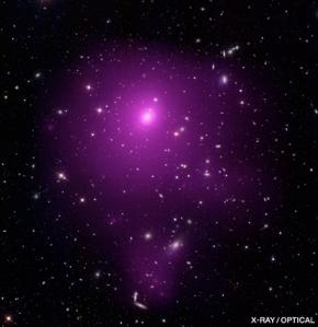 Abell 85, un roi de galaxii mult mai puțin masiv decât roiurile mai îndepărtate decât acesta. Foto: X-ray (NASA/CXC/SAO/A.Vikhlinin et al.); Optical (SDSS); Illustration (MPE/V.Springel)