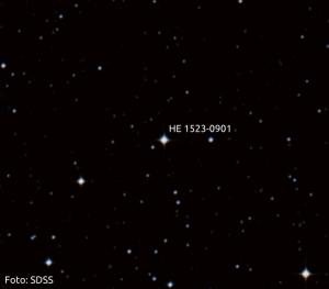 HE 1523-0901, cea mai bătrână stea din Galaxie. Foto: SDSS