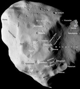 Nume pe asteroidul 21 Lutetia. Foto: ESA 2010 MPS for OSIRIS Team MPS/UPD/LAM/IAA/RSSD/INTA/UPM/DASP/IDA