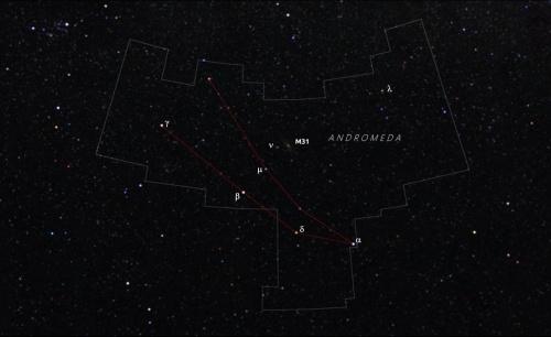 Constelația Andromeda și locul unde se află galaxia M31