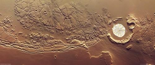 Echus Chaos, o regiune aflată la 2°N / 285°E pe Marte