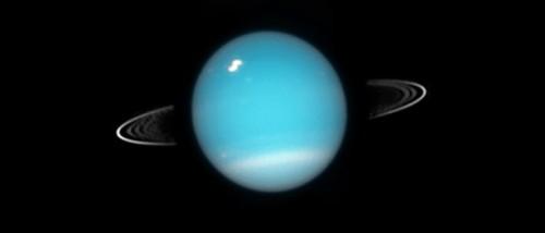 Inelele lui Uranus. Imagine luată cu telescopul spațial Hubble în 2003. Foto: NASA, ESA, and M. Showalter (SETI Institute)