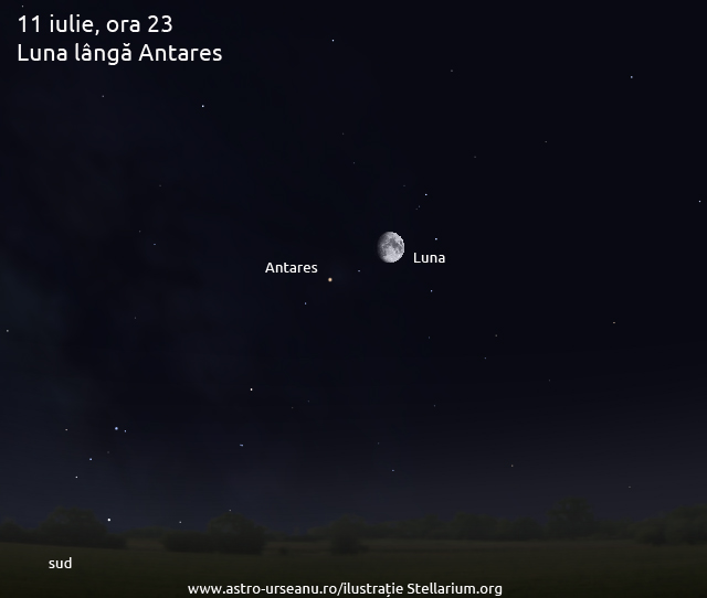11 iulie, ora 23. Luna și Antares