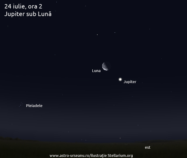 24 iulie, ora 2. Jupiter sub Lună