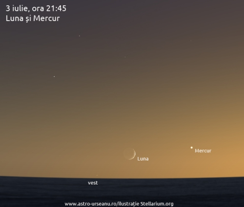 3 iulie, ora 21:45. Luna și Mercur
