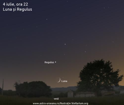 4 iulie, ora 22. Luna și Regulus