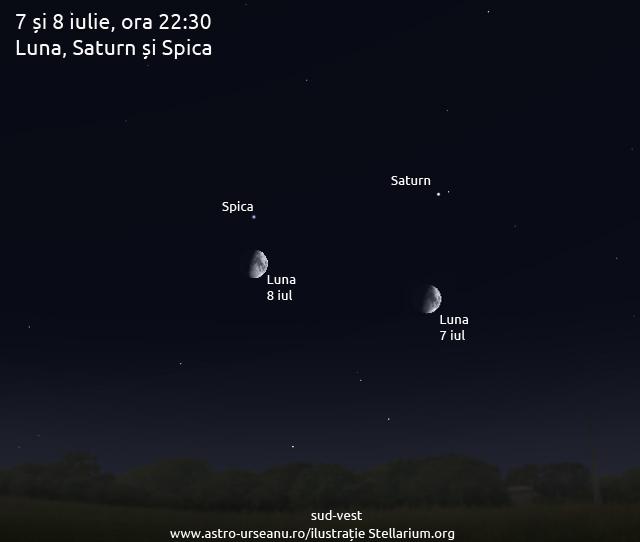 7-8 iulie, ora 22:30. Luna cu Saturn și Spica