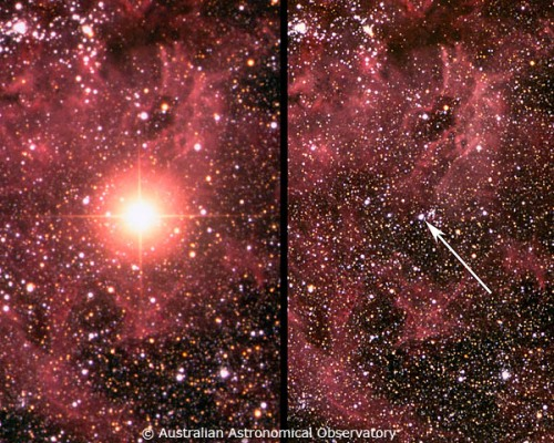 Supernova SN1987A în momentul apariției (stânga) și înainte (dreapta). Foto: AAS