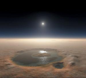 Lac marțian: doar o ilustrație dar acum câteva miliarde de ani realitate