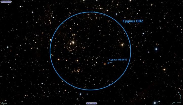 Roiul stelar Cygnus OB2 și steaua care este de 6.000.000 de ori mai luminoasă decât Soarele. Foto: DSS