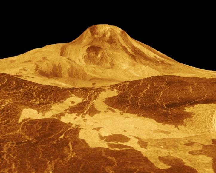 Maat Mons, cel mai înalt vulcan de pe Venus. Imagine radar obținută de sonda Magellan. Foto: NASA/JPL