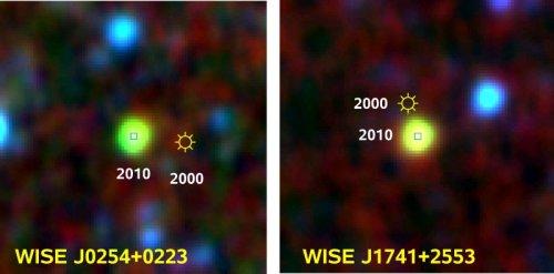 Cele două stele nou descoperite. Se observa cum s-au miscat intr-un interval de 10 ani (in anul 2000 au fost observate de alt telescop in infrarosu dar nu au fost descoperite).  Foto: AIP, NASA/IPAC Infrared Science Archive