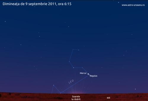 Mercur și Regulus în pe cerul de dimineață