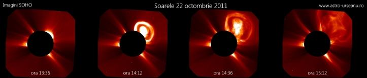 Ejecție coronală de masă 22 octombrie. Foto: SOHO