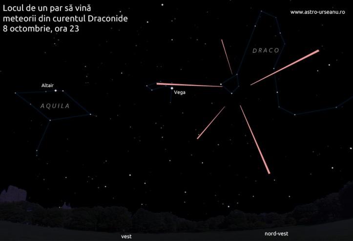 Draconide 2011. Locul de unde par a veni stelele căzătoare din această noapte. Ilustrație astro-urseanu.ro