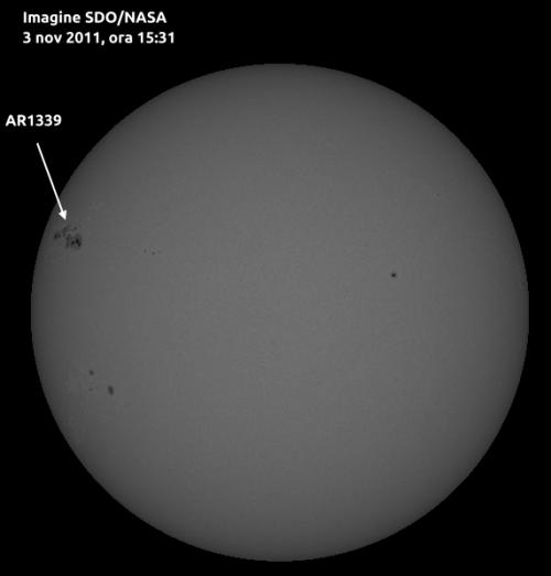 Pata în cauză (AR 1339). Foto: NASA/SDO