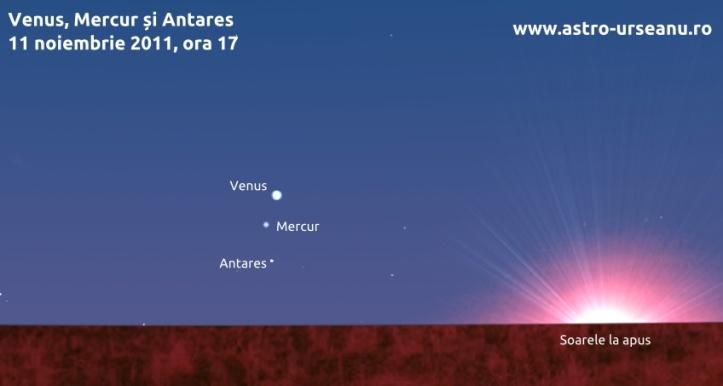 Venus și Mercur pe cerul de seară - 11 noiembrie 2011