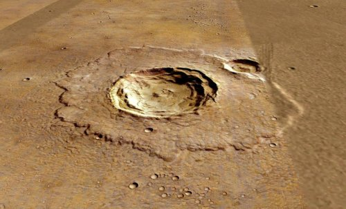 Crater marțian anonim. În jurul său vedem resturi care au curs la momentul formării. Foto: NASA/ESA