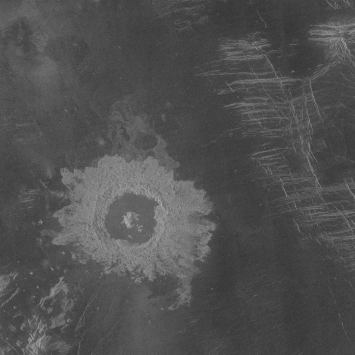 Saskia, crater venusian. Imagine radar: NASA/Magellan