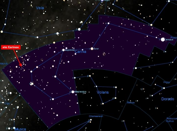 Harta pentru găsirea stelei Eta Carinae