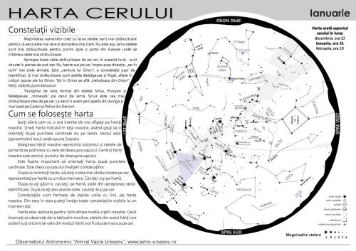 Harta cerului în serile din luna ianuarie