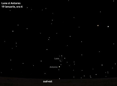 Luna și Antares - 19 ianuarie, ora 6