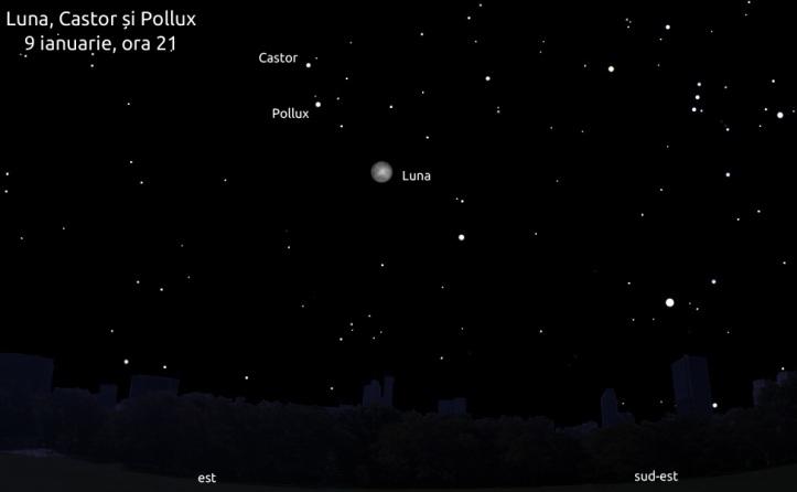 Luna, Castor și Pollux - 9 ianuarie 2012