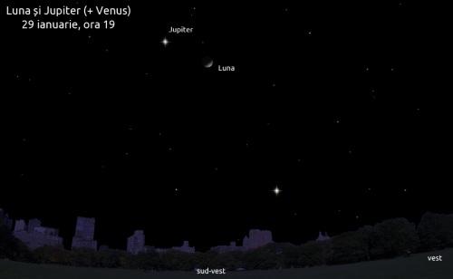 Luna și Jupiter pe 29 ianuarie, ora 19