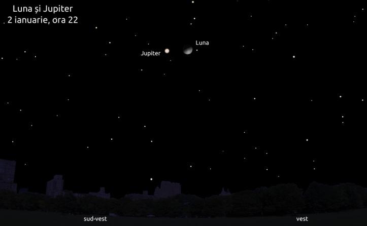 Jupiter lângă Lună - 2 ianuarie 2012