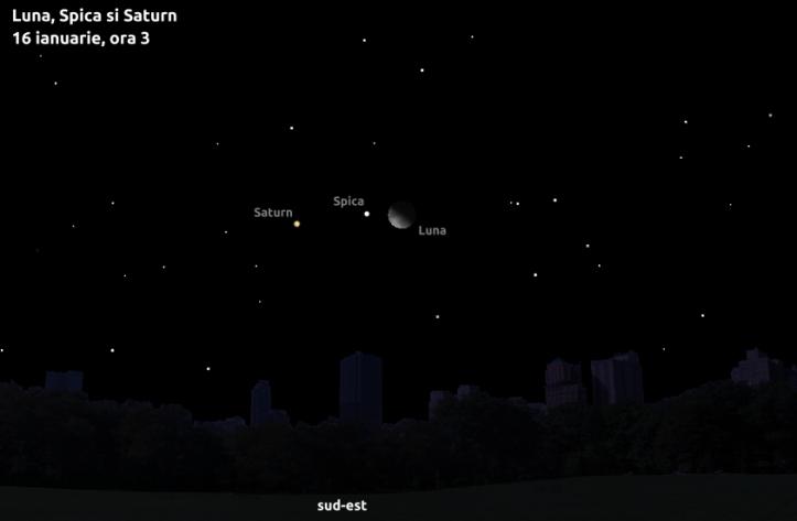 Luna, Spica și Saturn - 16 ianuarie, ora 3
