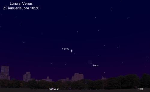 Luna și Venus în seara de 25 ianuarie 2012, ora 18:20