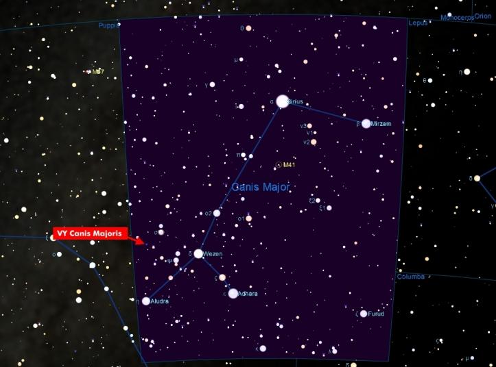 Harta pentru găsirea stelei VY Canis Majoris
