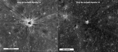 Etajul de rachetă al misiunii Apollo 13 și craterul format in Mare Cognitum. Etajul de rachetă al misiunii Apollo 14 și craterul format. Foto: NASA/GSFC/Arizona State University