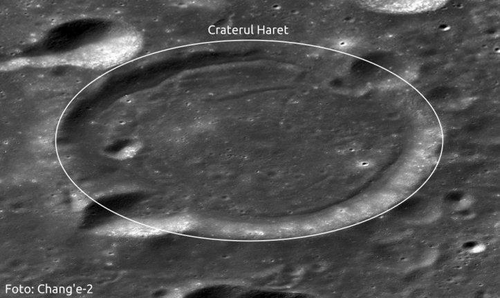 Craterul Haret (25 km în diametru). Foto: Chang'e-2