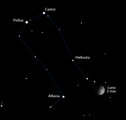 Luna și constelația Gemini în seara de 2 martie