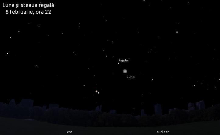 Luna și Regulus pe 8 februarie, ora 22