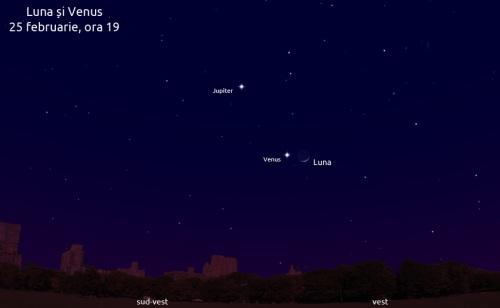 Luna lângă Venus - 25 februarie, ora 19
