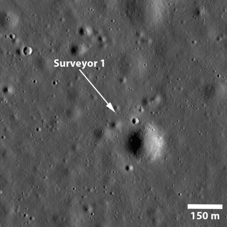 Surveyor 1 pe Lună. Foto: NASA/GSFC/Arizona State University