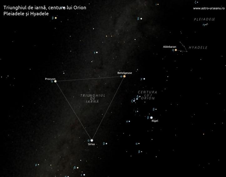 Formă pe cer - triunghiul de iarnă