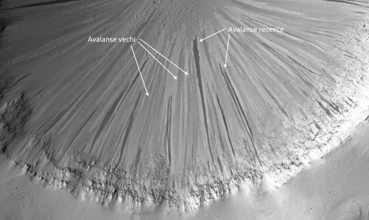 Generații diferite de avalanșe de nisip. Foto: NASA/JPL/University of Arizona
