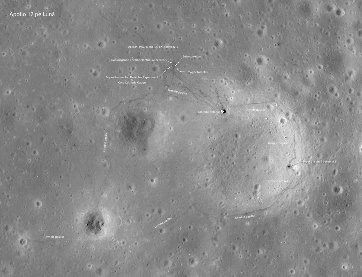 Apollo 12 pe Lună. Foto: NASA/LRO