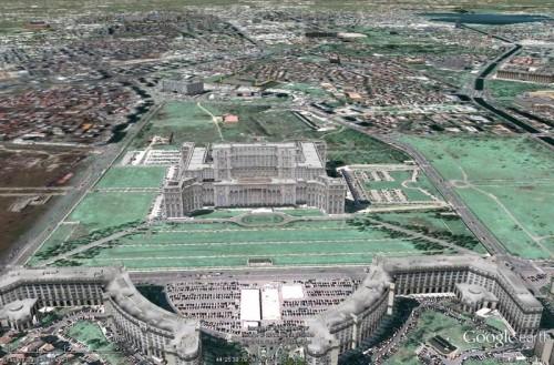 Ea e: casa poporului. Captură de ecran Google Earth